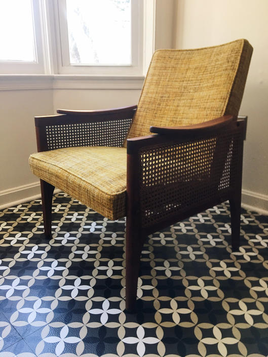 Cane Arm Chair with Boucle fabric by CaribeCasualShop