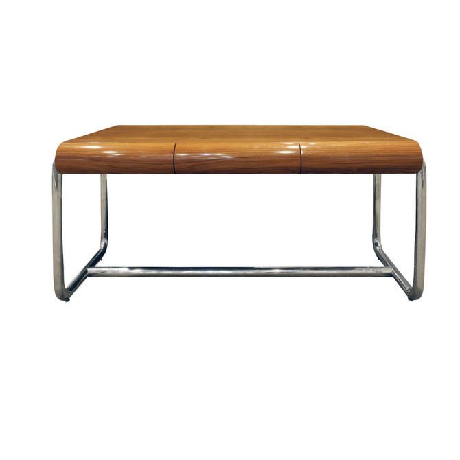 Pace Large Desk in Lacquered Rosewood and Chrome 1970s