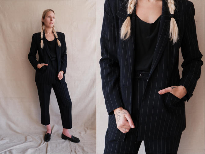 Vintage 90s Pinstripe Pant Suit/ 1990s Navy Blue Striped Blazer and Trousers/ Size Small Medium by bottleofbread