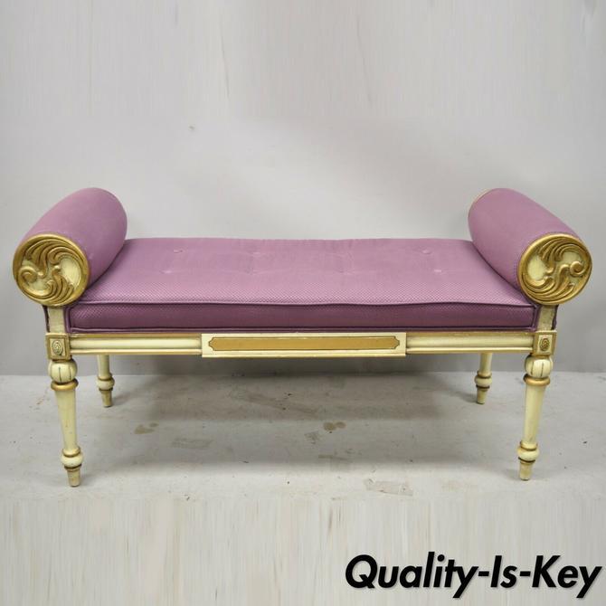 Vintage French Louis XVI Italian Provincial Cream Painted Purple Window Bench