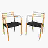 J.L. Moller Dining Chairs Model #62 Beech Dining Chairs Danish Cord by HearthsideHome