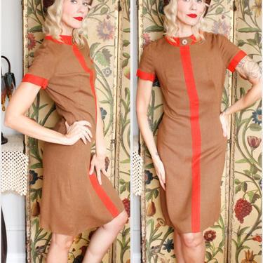 1960s Dress // Lampl Twill Color Block Dress // vintage 60s dress by dethrosevintage