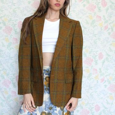 Vintage 70s Blazer, Amber and Green Plaid Wool Tweed Sports Jacket by Lenox Royal Collection, Size Small by AMORVINTAGESHOP