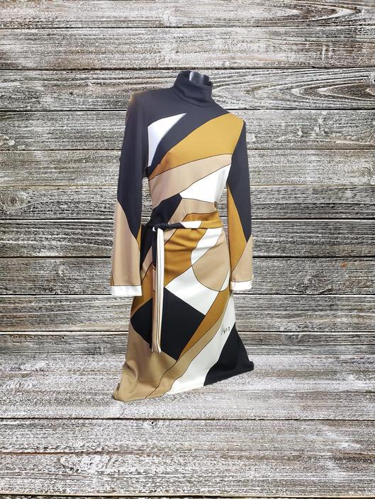 Vintage Geometric Dress, 1960's Vera Neumann Mod Dress, Mid Century Dress, Abstract Graphic Print, Long Sleeve Mockneck, Vintage Clothing by AGoGoVintage