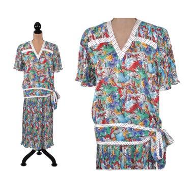 Pleated Chiffon Floral Maxi Dress Medium, 2 Piece Long Skirt & Top, Drop Waist 1920s Style Gatsby, 80s Vintage Clothing Women Diane Freis by MagpieandOtis
