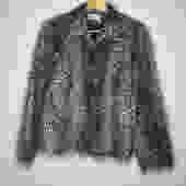 Patterned Faux Fur Vintage Patterned Gray Jacket (L)