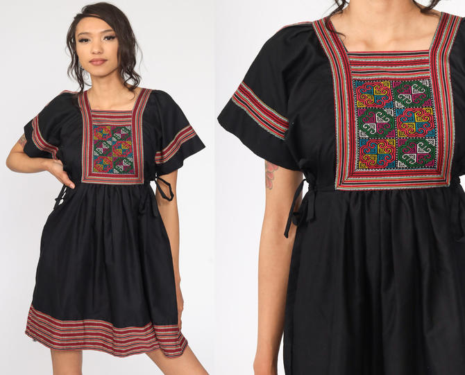 Babydoll Mini Dress 70s Black Embroidered Mini Bib Dress Boho Empire Waist Bohemian Dress Short Sleeve 1970s Vintage Seventies Small by ShopExile