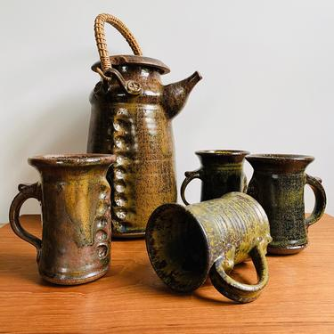 Vintage studio pottery tea or coffee set with four mugs / signed handmade ceramics marked CSC 69 by EarthshipVintage