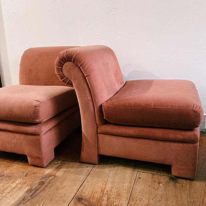 Pair of upholstered dusty rose slipper chairs, pair of accent chairs, velour pink slipper chairs by VintageandSwoon