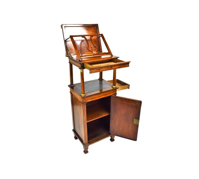Fabulous Antique Neoclassical Flame Mahogany Music Cabinet Easel Stand by PrairielandArt