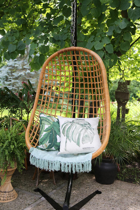 Vintage Bamboo Rattan Hanging Egg Chair Swing No Stand Local P