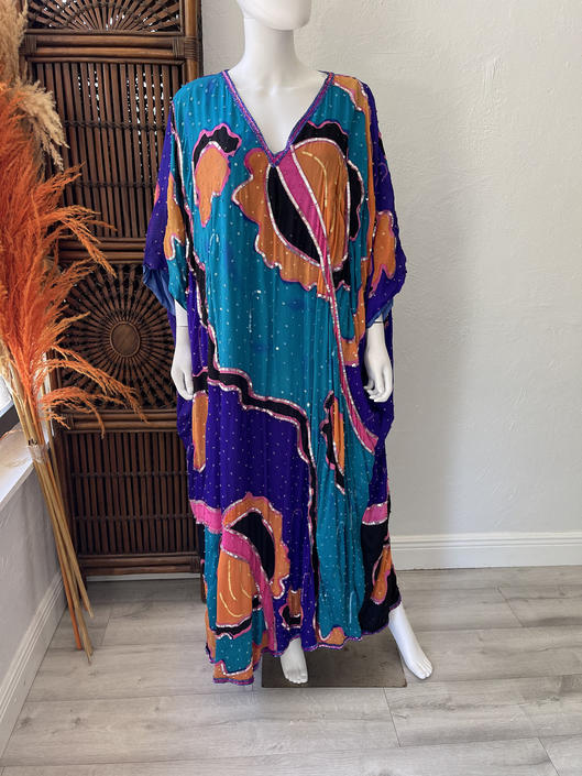 Vtg 70s 80s abstract sequined watercolor silk caftan OSFM by AnimalVintageMiami