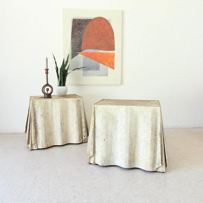 Vintage Metal Sculptural Works of Art Nightstands or End Tables