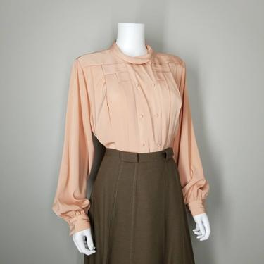 Vintage Deco Cocktail Blouse, Large / Silky Pleated Blouse / Bishop Sleeve Blouse / 1940s Inspired Dress Blouse / 1980s Peach Button Blouse by SoughtClothier