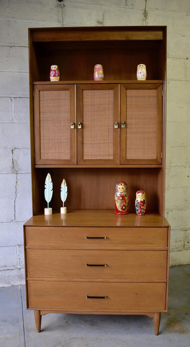 Mid Century MODERN CANED Bookcase / China Cabinet / HUTCH by CIRCA60