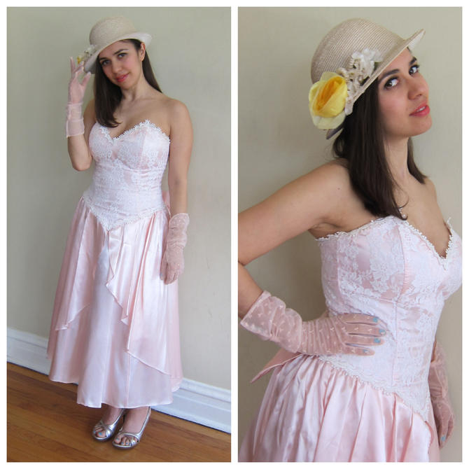1980s Party Dress / 80s Pink Strapless Dress /Gunne Sax 80s Does 50s ...