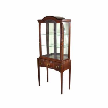 Vintage Federal Style Mahogany Curio Cabinet w Side Doors & Mirrored Back by PrairielandArt