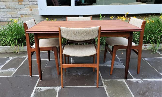 Mid Century Modern Danish Teak Dining Table and Chairs by D-Scan by WrightFindsinMCM