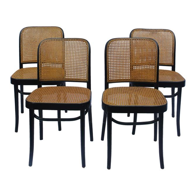 1940s Art Deco Joseph Hoffman for Thonet Bentwood and Cane Prague Side Chairs - Set of 4 by MetronomeVintage
