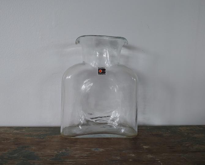 Vintage Blenko Clear Art Glass Double Spout Carafe Pitcher Vase by ModandOzzie