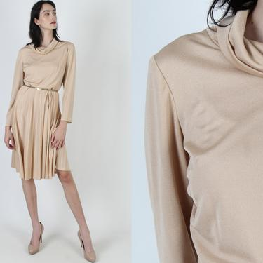 Vintage 70s Nude Disco Lounge Dress / Studio 54 Cowl Neck Dress / Pleated Skirt Cocktail Party Dancing Midi Mini Dress by americanarchive