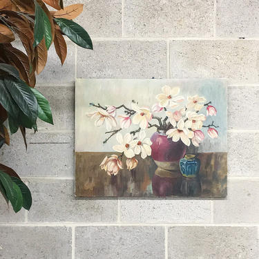 Vintage Flower Painting 1970s Retro Size 20x26 Cherry Blossoms + Still Life + Acrylic + Nailed Canvas + Flowers in Vase + Home + Wall Decor by RetrospectVintage215