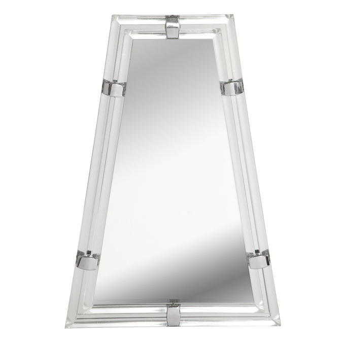"""Les Prismatiques Stunning Trapezoidal Wall Hanging """"Buckle Mirror"""" 1970s"""