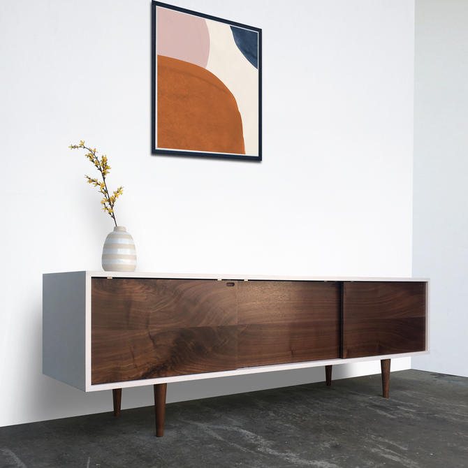 Roosevelt Credenza - White Wash Finish - Walnut Single Slab Doors - In Stock! by STORnewyork