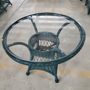 Green All-Weather Wicker Round Cafe Table