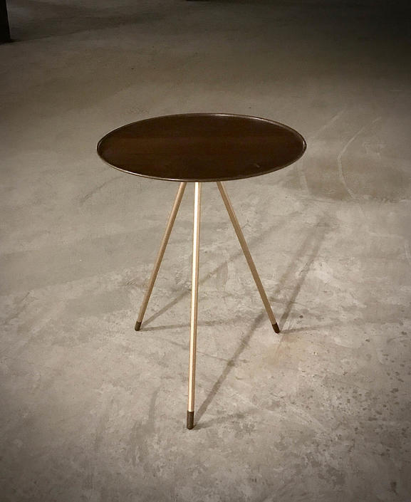 End Table, Modern Table with Turned Walnut Top and Brass Legs, Modern End Table by PWHFurniture