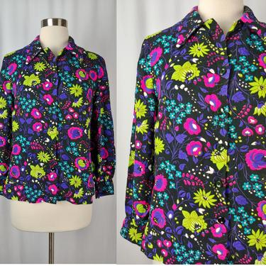Vintage Seventies Neon Floral Button Up - 70s Small - Medium Black Long Sleeve Acrylic Blouse by JanetandJaneVintage