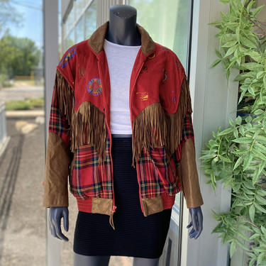 CHAR Santa Fe Vintage 1980s Geniune Leather Suede Fringe Plaid Metallic Shimmery Heart Motif Southwest Style Jacket - Size Small - Unisex by AIDSActionCommittee