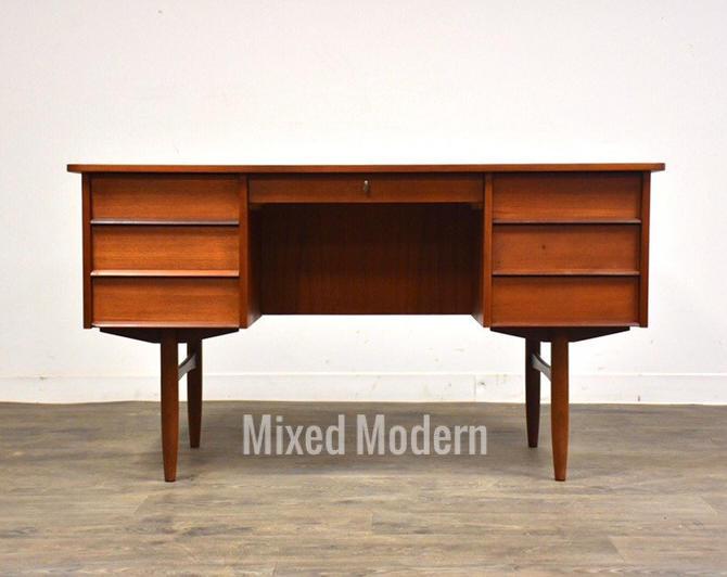 Danish Teak Double Bank Desk by mixedmodern1