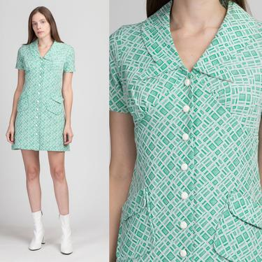 60s Green & White Notched Collar Mod Mini Dress - Small   Vintage Button Up Short Sleeve Abstract Print Shift Dress by FlyingAppleVintage