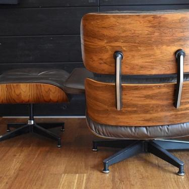 Vintage Brazilian Rosewood Eames lounge chair and ottoman by Herman Miller (670/671), circa 1970s - #257 by MidCenturyClever