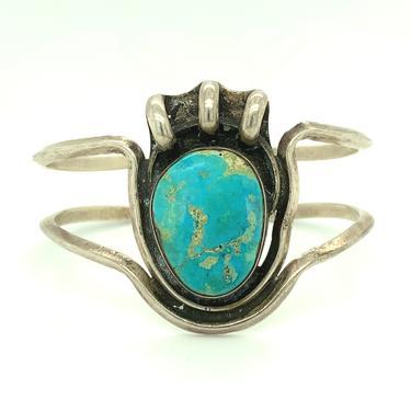 Vintage Sterling Silver Turquoise Cuff Bracelet Bear Paw Motif Artisan Tribal by HouseofVintageOnline