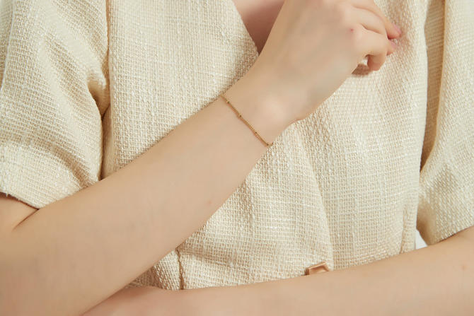 Angelia gold Bead Chain Bracelet, gold Delicate Bracelet, gold Fine Beaded Chain Bracelet, gold Dainty bead chain bracelet, gift for her by MelangeBlancDesigns