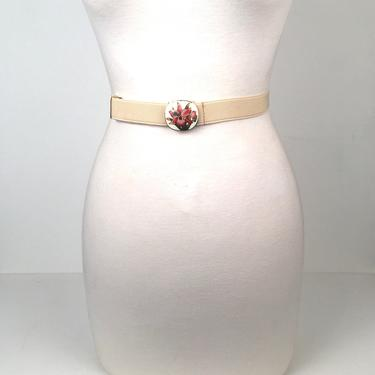 Vintage 1980s Ivory Stretch Belt with Cloisonné Buckle by timelesspieces