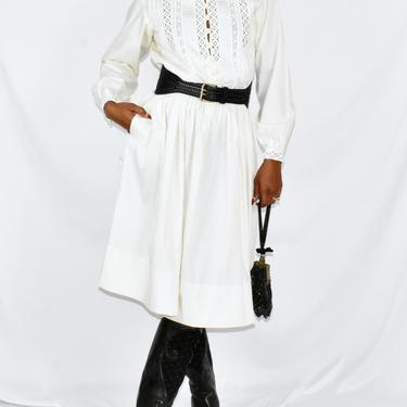 Vintage 1960s Off White Shirtdress with Prairie Style Bodice and Full Skirt by LavenderJosephine