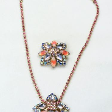 Vintage Aurora Borealis Glass Rhinestone Pendant Necklace and Brooch Pin Set by HouseofVintageOnline