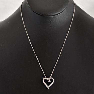 Vintage Jane Seymour sterling diamond heart romantic affixed pendant, elegant JWBR 925 silver clear gems sweetheart bling necklace by BetseysBeauties