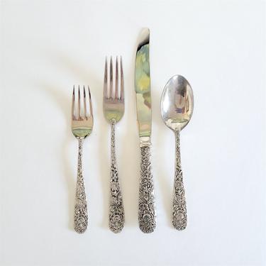 Vintage Godinger Silver Plate Flatware, Cutlery Sets of 4, Dinner Forks, Spoons, Knives, and Salad Forks by CivilizedCrow