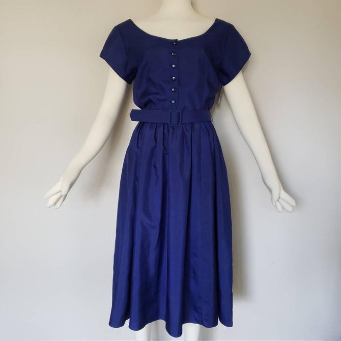 vintage dress navy dress blue dress party dress cocktail dress 80s dress 1980s dress new wave dress 80s party dress dark blue by OFSvintage