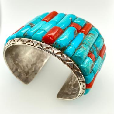 Vintage Navajo Huge Corn Row Inlay Turquoise Coral Cuff Bracelet Sterling Silver Native American by HouseofVintageOnline
