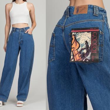 "80s 90s Goouch High Waist Wide Leg Jeans - Medium, 28.5"" | Vintage Deadstock Medium Wash Denim Tapered Leg Baggy Jeans by FlyingAppleVintage"