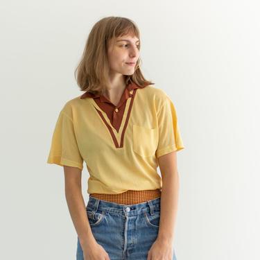 Vintage Honey Mustard Burgundy Tennis T Shirt | 50s Vented Mesh Tee Shirt Yellow | Made in USA | S by RAWSONSTUDIO