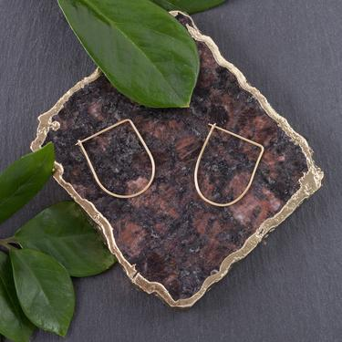 Thin Wire Drop Hoop Brass Earrings