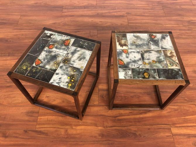 Rosewood Tile Top Side Tables