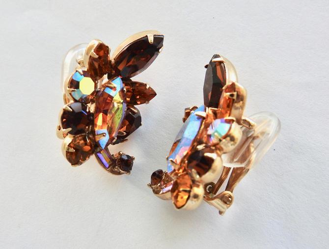 Hollycraft Aurora Root Beer Rhinestone Ear Climber Earrings by LegendaryBeast