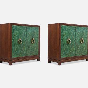 Tommi Parzinger Green Leather Front Cabinets With Brass Pulls for Charak Modern